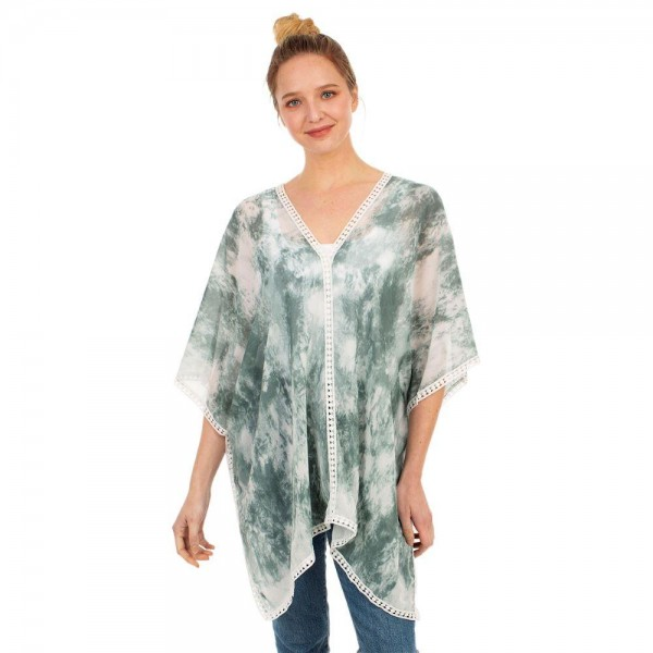 """Tie-Dye Top Featuring Lace Accents.   - One Size Fits Most 0-14 - 100% Viscose - Approximately 28"""" L"""