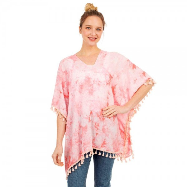 """Tie-Dye Top Featuring Tassel Accents.   - One Size Fits Most 0-14 - 100% Viscose - Approximately 29"""" L"""