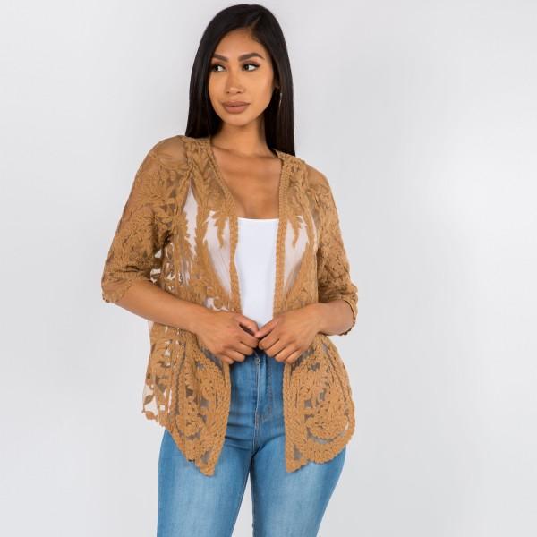 "Lace Kimono.   - 100% Cotton  - One Size Fits Most 0-14 - Approximately 29"" L"