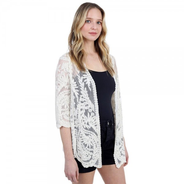 "Lace Kimono.   - 100% Cotton  - One Size Fits Most 0-14 - Approximately 29"" L"