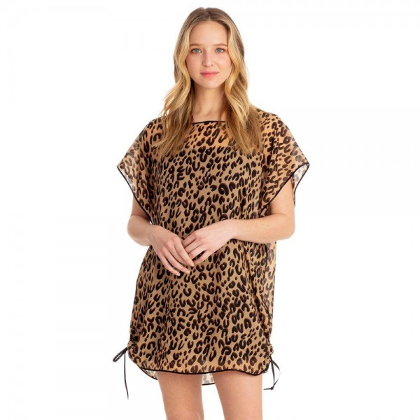 """Sheer Leopard Poncho Featuring Tie Accents.   - 100% Polyester - One Size Fits Most 0-14 - Approximately 32"""" L"""