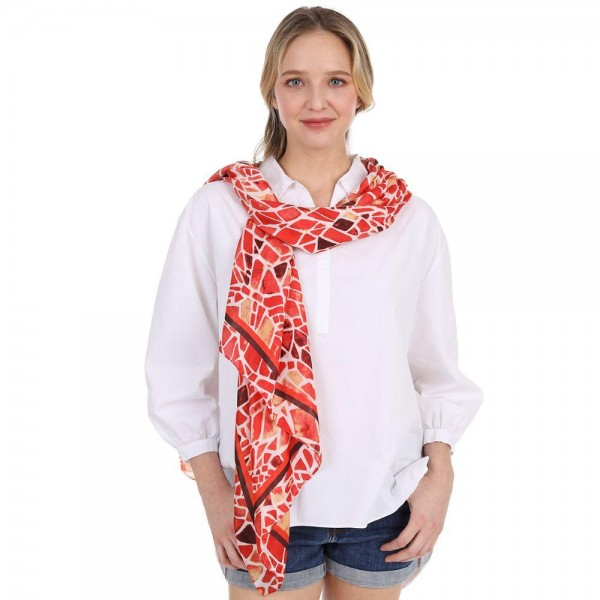 "Mosiac Pattern Scarf.   - 100% Viscose - Approximately 35"" x 60"""