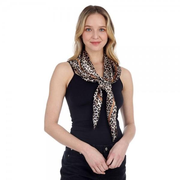 "Leopard Print Bandana Scarf.   - 100% Polyester - Approximately 35"" x 35"""