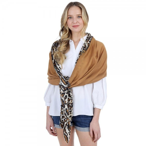 "Leopard Print Scarf.   - 100% Polyester - Approximately 60"" x 35"""