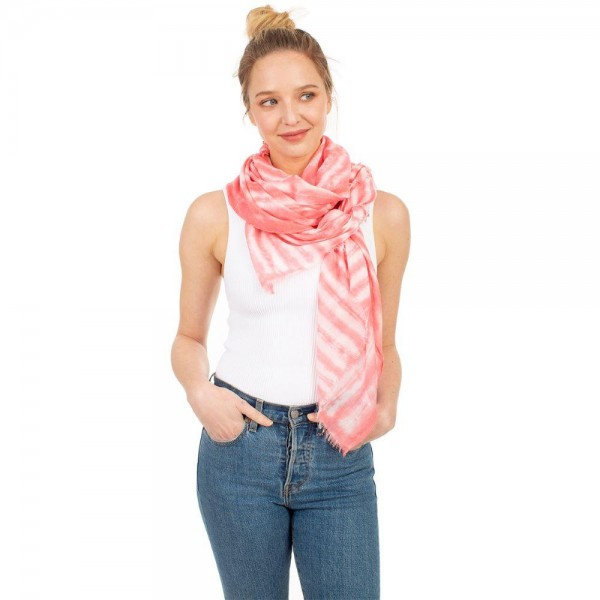 "Tie-Dye Scarf.   - 35% Viscose, 65% Polyester - Approximately 60"" x 35"""