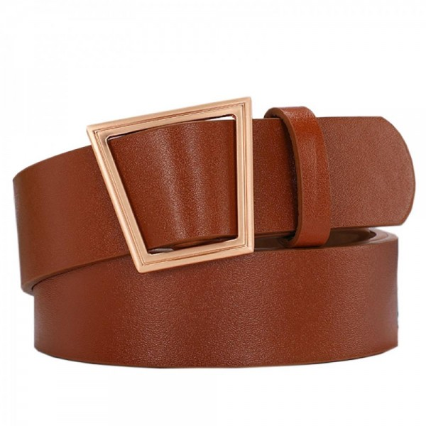 """Faux Leather Belt Featuring Gold Geometric Buckle.   - Belt is Approximately 40"""" Long & 1.5"""" Wide"""