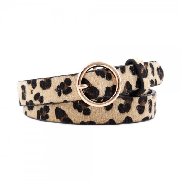 """Leopard Print Belt Featuring Gold Circle Buckle.   - Approximately 43"""" Long - One Size Fits Most 0-14"""