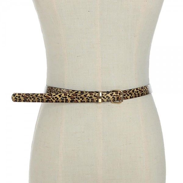 """Thin Faux Leather Animal Print Belt Featuring Gold Buckle.   - Belt is Approximately 41"""" Long & 3/4"""" Wide"""