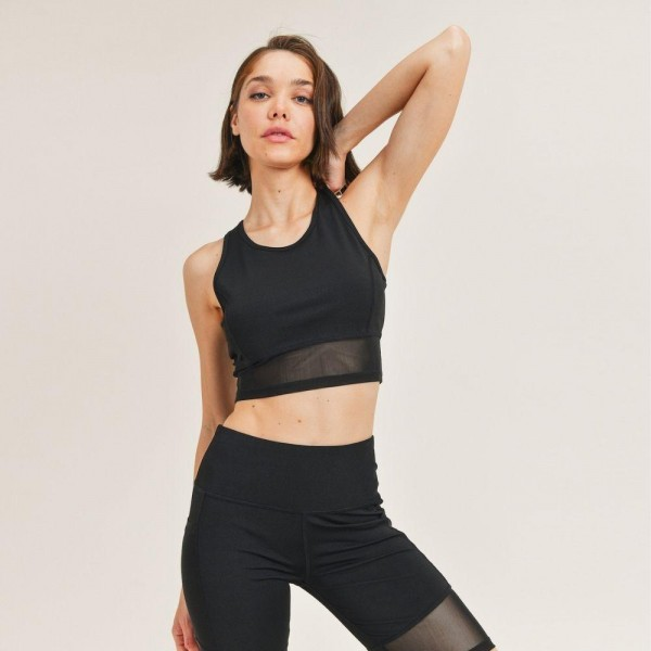 """Women's Active Wear Matching Set. (6 Pack) Matching Set Includes Biker Shorts and Matching Crop Top.   - 4"""" Elastic Waistband Biker Shorts  - Mesh Like Details  - 6 Sets Per Pack  - Sizes: 1-S / 2-M / 2-L / 1-XL - 92% Polyester / 8% Spandex"""