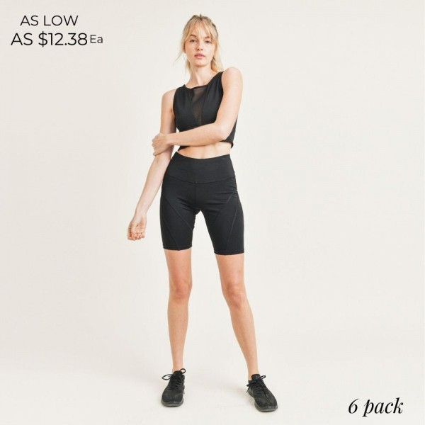 """Women's Active Wear Set. (6 Pack) Matching Set Includes Biker Shorts and Matching Crop Top.   - 4"""" Elastic Waistband Biker Shorts - Crop Top with Breathable Mesh Like Details  - 6 Sets Per Pack  - Sizes: 1-S / 2-M / 2-L / 1-XL - 92% Polyester / 8% Spandex"""