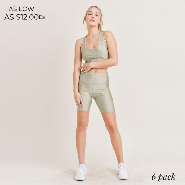 "Women's Active Wear Matching Set. (6 Pack) Matching Set Includes Biker Shorts and Matching Sports Bra.   - 4"" Elastic Waistband Biker Shorts - Sheen Finish  - 6 Sets Per Pack - Sports Bra Features Racerback Design  - Sizes: 1-S / 2-M / 2-L / 1-XL - 92% Polyester / 8% Spandex"