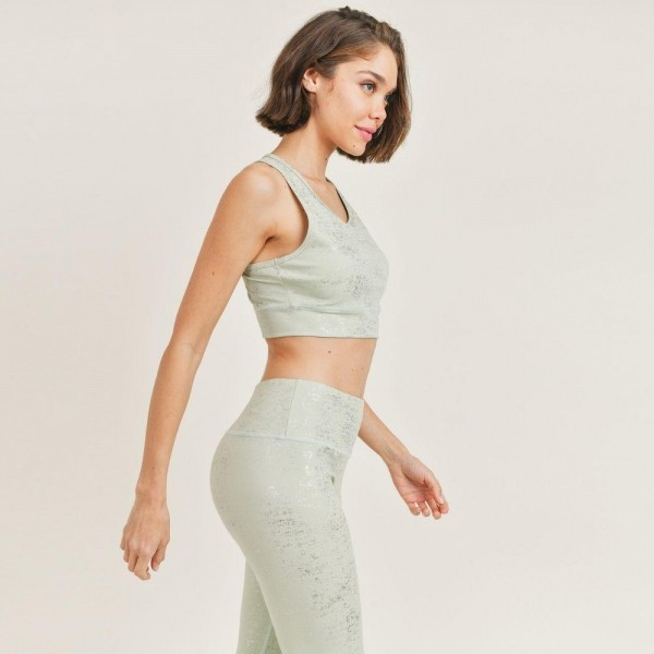 """Women's Active Wear Matching Set. (6 Pack) Matching Set Includes Leggings and Matching Crop Top.   - 4"""" Elastic Waistband Leggings  - Crop Top with Racerback - Glitter Finish For Sparkly Effect  - 6 Sets Per Pack  - Sizes: 1-S / 2-M / 2-L / 1-XL - 92% Polyester / 8% Spandex"""