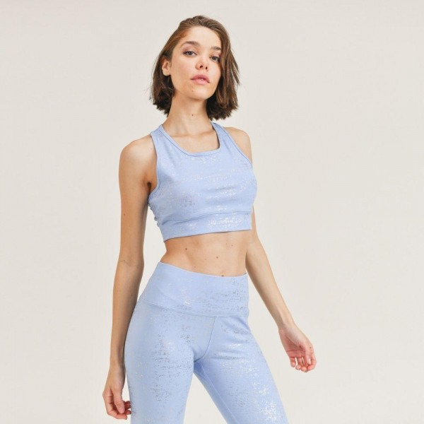 "Women's Active Wear Matching Set. (6 Pack) Matching Set Includes Leggings and Matching Crop Top.   - 4"" Elastic Waistband Leggings  - Crop Top with Racerback - Glitter Finish For Sparkly Effect  - 6 Sets Per Pack  - Sizes: 1-S / 2-M / 2-L / 1-XL - 92% Polyester / 8% Spandex"