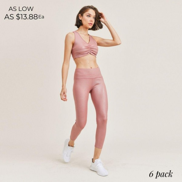 "Women's Active Wear Matching Set. (6 Pack) Matching Set Includes Leggings and Matching Sports Bra.                                                                                         - 4"" Elastic Waistband Biker Shorts - Ruched Details - Metallic Finish for Sparkly Look  - Sports Bra Has Racerback Design  - 6 Sets Per Pack - Sizes: 1-S / 2-M / 2-L / 1-XL - 92% Polyester / 8% Spandex"