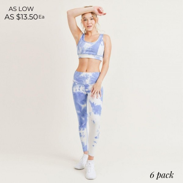 """Women's Active Wear Matching Tie Dye Set. (6 Pack) Matching Set Includes Biker Shorts and Matching Crop Top.   - 4"""" Elastic Waistband Biker Shorts - Crop Top with Scoop Back  - 6 Sets Per Pack  - Sizes: 1-S / 2-M / 2-L / 1-XL - 92% Polyester / 8% Spandex"""