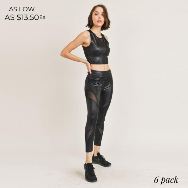 "Women's Active Wear Matching Set. (6 Pack) Matching Set Includes Leggings and Matching Crop Top.  - 4"" Elastic Waistband Biker Shorts - Mesh Like Details - Glossy Shine Finish  - 6 Sets Per Pack - Sizes: 1-S / 2-M / 2-L / 1-XL - 92% Polyester / 8% Spandex"