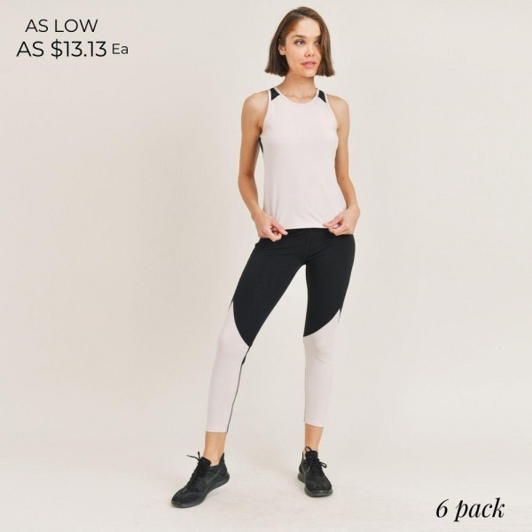"""Women's Active Wear Matching Set. (6 Pack) Matching Set Includes Leggings and Matching Tank Top.   - 4"""" Elastic Waistband Leggings  - Tank Top with Mesh Like Details on Back - 6 Sets Per Pack  - Sizes: 1-S / 2-M / 2-L / 1-XL - 92% Polyester / 8% Spandex"""