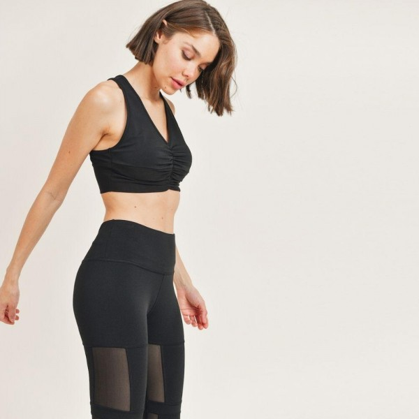"""Women's Active Wear Matching Set. (6 Pack) Matching Set Includes Leggings and Matching Crop Top.   - 4"""" Elastic Waistband Leggings  - Crop Top with Racerback & Ruched Details  - 6 Sets Per Pack  - Sizes: 1-S / 2-M / 2-L / 1-XL - 92% Polyester / 8% Spandex"""
