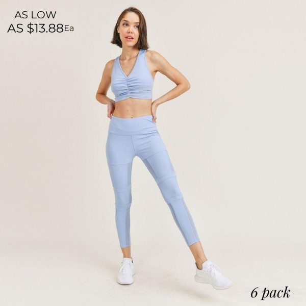 "Women's Active Wear Matching Set. (6 Pack) Matching Set Includes Leggings and Matching Crop Top.   - 4"" Elastic Waistband Leggings  - Crop Top with Racerback & Ruched Details  - 6 Sets Per Pack  - Sizes: 1-S / 2-M / 2-L / 1-XL - 92% Polyester / 8% Spandex"