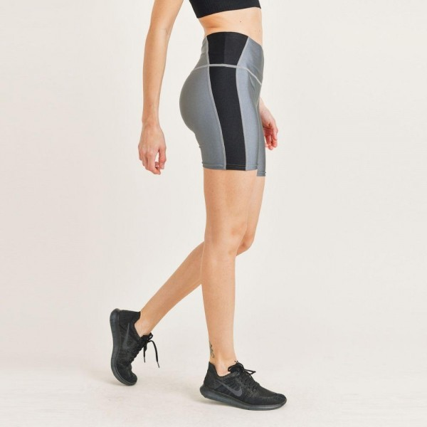 """Women's Athletic Biker Shorts Featuring Black Stripes. (6 Pack)  - 4"""" Elastic Waistband - Shine Coated - 6 Sets Per Pack  - Sizes: 1-S / 2-M / 2-L / 1-XL - 92% Polyester / 8% Spandex"""