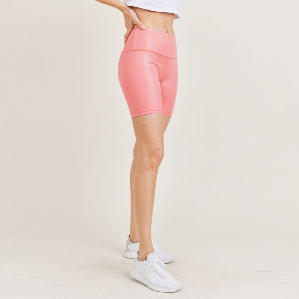 """Women's Athletic Biker Shorts. (6 Pack)  - 4"""" Elastic Waistband - Shine Coated - 6 Sets Per Pack  - Sizes: 1-S / 2-M / 2-L / 1-XL - 92% Polyester / 8% Spandex"""
