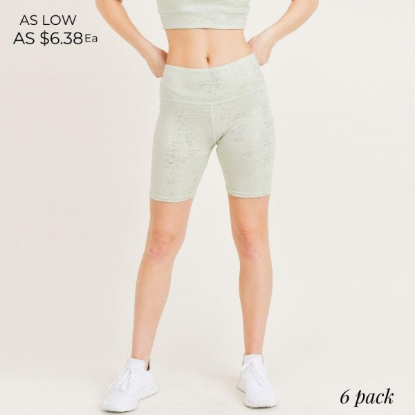 """Women's Active Biker Shorts. (6 Pack)  - 4"""" Elastic Waistband  - Coated with Glitter Finish for Sparkly Effect  - 6 Sets Per Pack 243749  - Sizes: 1-S / 2-M / 2-L / 1-XL  - 92% Polyester / 8% Spandex"""