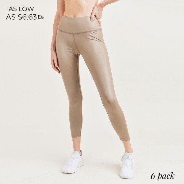 """Women's Active Athletic Leggings. (6 Pack)   - 4"""" Elastic Waistband  - Shine Coated  - 6 Sets Per Pack - Sizes: 1-S / 2-M / 2-L / 1-XL  - 92% Polyester / 8% Spandex"""