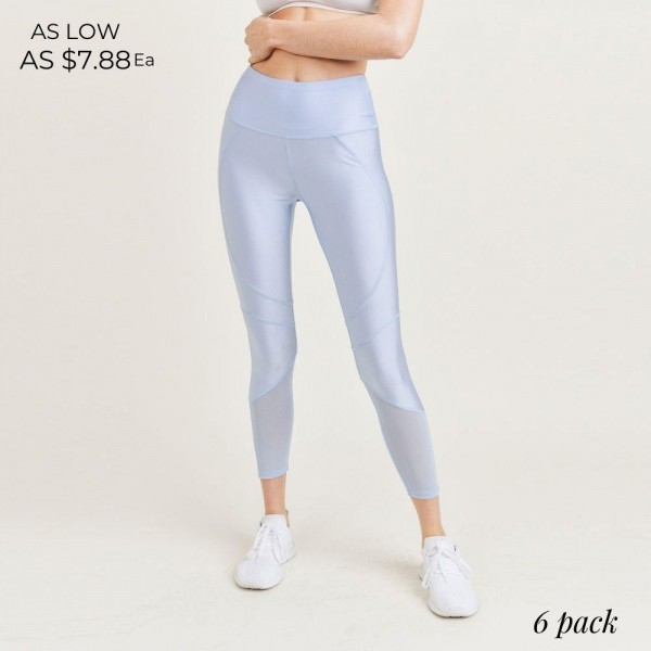 """Women's Active Athletic Leggings. (6 Pack)   - 4"""" Elastic Waistband  - Shine Coated  - Features Mesh Like Details  - 6 Sets Per Pack  - Sizes: 1-S / 2-M / 2-L / 1-XL  - 92% Polyester / 8% Spandex"""