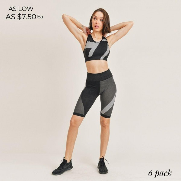 """Women's Active Wear Matching Set. (6 Pack) Matching Set Includes Biker Shorts and Matching Crop Top.   - 4"""" Elastic Waistband Biker Shorts - Crop Top with Scoop Back  - 6 Sets Per Pack  - Sizes: 1-S / 2-M / 2-L / 1-XL - 92% Polyester / 8% Spandex"""