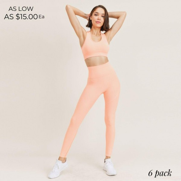 """Women's Seamless Active Wear Matching Set. (6 Pack) Matching Set Includes Leggings and Matching Sports Bra.   - 4"""" Elastic Waistband Leggings - Seamless Design - Racerback Design Sports Bra - 6 Sets Per Pack - Sizes: 2-S / 2-M / 2-L  - 92% Polyester / 8% Spandex"""