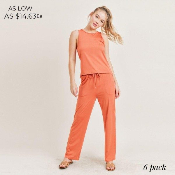 Women's Lounge Wear Matching Set. (6 Pack) Matching Set Includes Draw String Pants and Matching Tank Top.   - Elastic Drawstring Waistband Pants - 6 Sets Per Pack  - Sizes: 2-S / 2-M / 2-L  - 92% Polyester / 8% Spandex