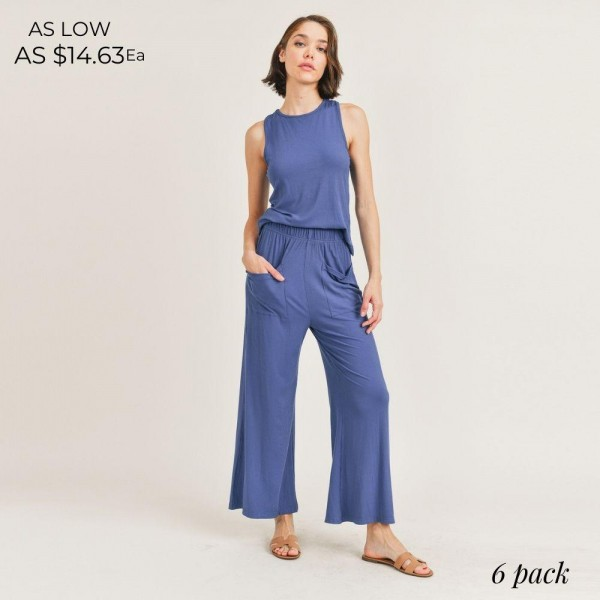 Women's Lounge Wear Matching Set. (6 Pack) Matching Set Includes Draw String Pants and Matching Tank Top.   - Elastic Drawstring Waistband Pants - 6 Sets Per Pack  - Sizes: 2-S / 2-M / 2-L  - 95% Viscose / 5% Spandex