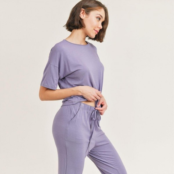 Women's Lounge Wear Matching Set. (6 Pack) Matching Set Includes Draw String Jogger Pants and Matching Drop Shoulder T-Shirt.   - Elastic Drawstring Waistband Pants - 6 Sets Per Pack - Sizes: 2-S / 2-M / 2-L - 92% Viscose / 8% Spandex