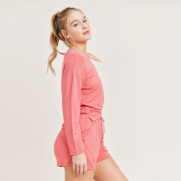 Women's Lounge Wear Matching Set. (6 Pack) Matching Set Includes Draw String Shorts and Long Sleeve High Low Top.   - Elastic Drawstring Waistband Shorts - 6 Sets Per Pack - Sizes: 2-S / 2-M / 2-L - 92% Viscose / 8% Spandex