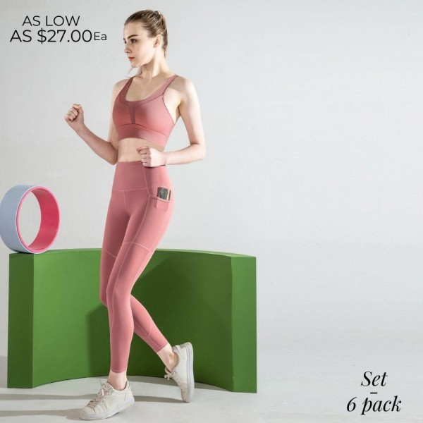 """Women's Active Feel So Good Workout Sports Bra & Legging Set. (6 pack)  Bottoms: - 4.5"""" High Waistband - Two Side Pockets  - Hidden Back Waistband Pocket - Inseam 24"""" Long  Top: - Padded  - Mesh Detail - Racer Back  - Elastic Back Detail  - Designed for Training - Sweat-Wicking - 4-Way Stretch - Breathable, Smooth, Cool Feel - 6 Sets Per Pack - Sizes: 2:S 2:M 2:L - 75% Nylon / 25% Spandex"""