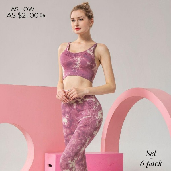 "Women's Active Tie Dye Workout Sports Bra & Legging Set. (6 pack)  - 3.5"" High Waistband - Designed for Training - Sweat-Wicking - 4-Way Stretch - Breathable, Smooth, Cool Feel  - 6 Sets Per Pack - Sizes: 2:S 2:M 2:L - Bottom Inseam 23"" Long - 90% Nylon / 10% Spandex"