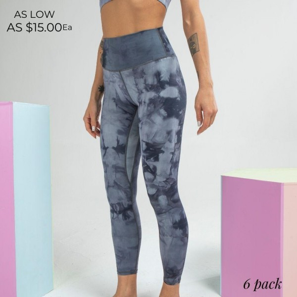 "Women's Active High Waisted Tie Dye Athletic Leggings. (6 pack)  - 5.5"" High Waistband - Waistband Hidden Pocket - Designed for Training - Sweat-wicking - 4-way Stretch - Breathable - Smooth, Cool Feel - Inseam 24"" Long  - 6 Pair Per Pack - Sizes: 2:S 2:M 2:L - 75% Nylon / 25% Spandex"