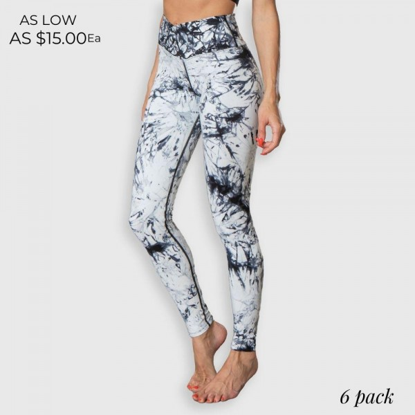 """Women's Active V-High Waisted Tie Dye Athletic Leggings. (6 pack)  - 3.5"""" V-High Waistband - Designed for Training - Sweat-wicking - 4-way Stretch - Breathable - Smooth, Cool Feel - Inseam 26"""" Long  - 6 Pair Per Pack - Sizes: 2:S 2:M 2:L - 75% Nylon / 25% Spandex"""