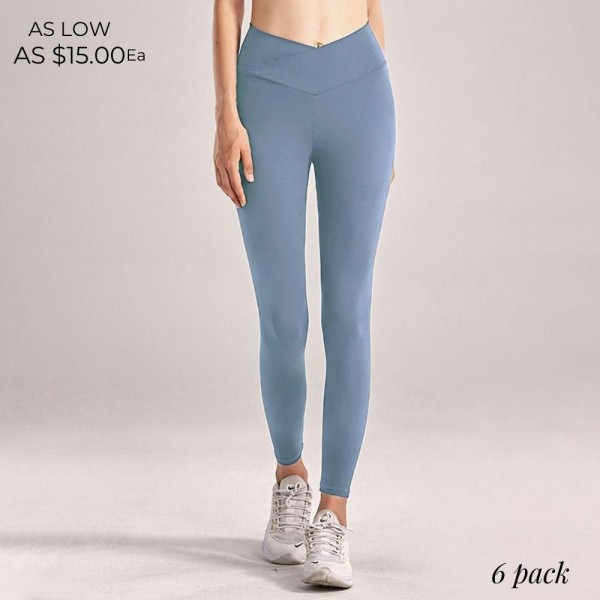 "Women's Active V-High Waisted Athletic Leggings. (6 pack)  - 4"" V-High Waistband - Designed for Training - Sweat-wicking - 4-way Stretch - Breathable - Smooth, Cool Feel - Inseam 27"" Long  - 6 Pair Per Pack - Sizes: 2:S 2:M 2:L - 75% Nylon / 25% Spandex"