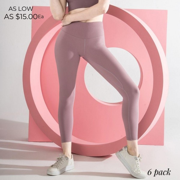 "Women's Active High Waisted Feel So Good Athletic Leggings. (6 pack)  - 4.5"" High Waistband - Waistband Hidden Pocket - Designed for Training - Sweat-wicking - 4-way Stretch - Breathable - Smooth, Cool Feel - Inseam 24"" Long  - 6 Pair Per Pack - Sizes: 2:S 2:M 2:L - 75% Nylon / 25% Spandex"