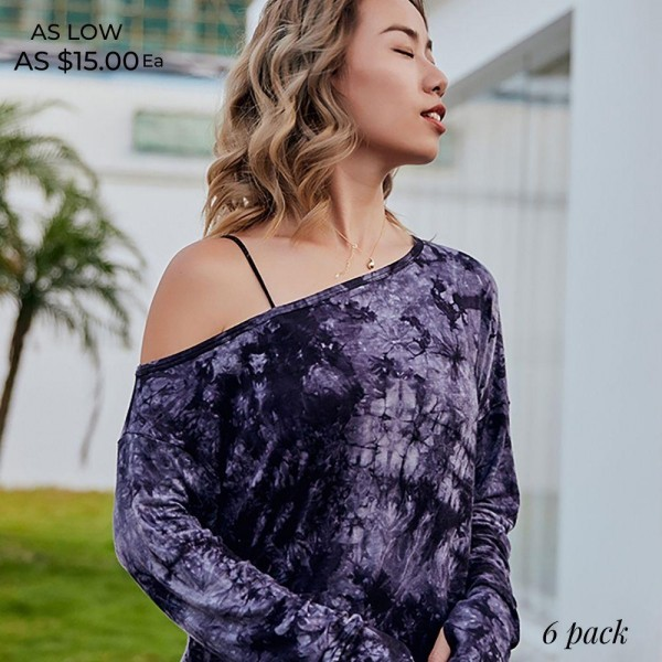 "Women's Active Long Sleeve Tie Dye Top Featuring Side Slit Details. (6 pack)  - Wide Shoulder Neckline - Long Sleeves - Side Slit Details - Tie Dye Print  - Approximately 20"" Long - 6 Shirts Per Pack - Sizes: 3:S/M 3:L/XL - 75% Nylon / 25% Spandex"