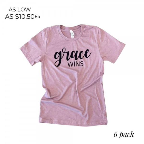 Grace Wins Graphic Tee.  - Printed on a Bella Canvas Brand Tee - Color: Orchid  - 6 Shirts Per Pack - Sizes: 1:S 2:M 2:L 1:XL - 100% Cotton   * Regularly priced items.