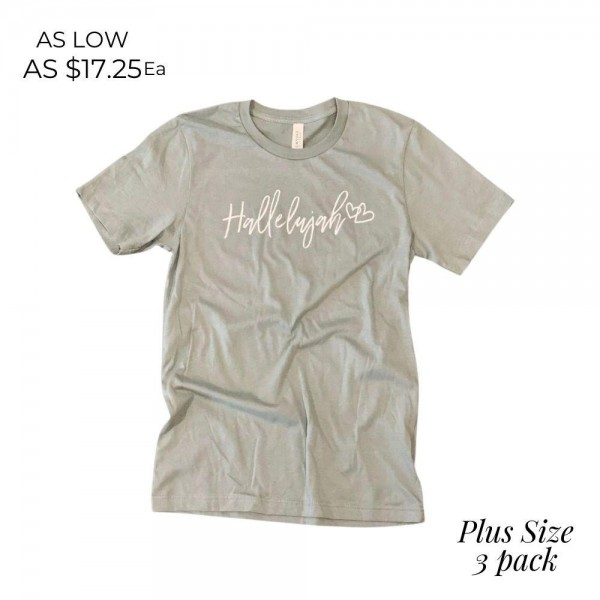 Plus Size Hallelujah Graphic Tee.  - Printed on a Bella Canvas Brand Tee - Color: Dusty Blue  - 3 Shirts Per Pack - Size: 2 XL  - 100% Cotton   * Regularly priced items.