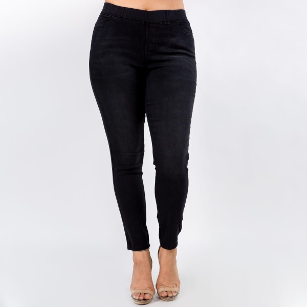 Women's Classic Skinny Jeggings.   - Super stretchy  - Pull on style  - Denim shade and tone may vary Please note, this brand runs very small. Be sure to check measurements on size chart for the most accurate fit.  - Pack Breakdown: 6pcs/pack  - Sizes: 2-XL / 2-1XL / 2-2XL  - 76% Cotton / 22% Polyester / 2% Spandex