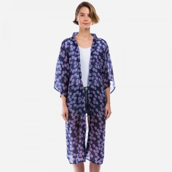 "Lightweight Floral Print Kimono.   - One Size Fits Most 0-14 - Approximately 40"" L - 100% Polyester"