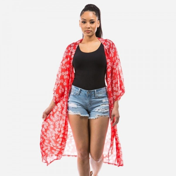 """Lightweight Floral Print Kimono.   - One Size Fits Most 0-14 - Approximately 40"""" L - 100% Polyester"""