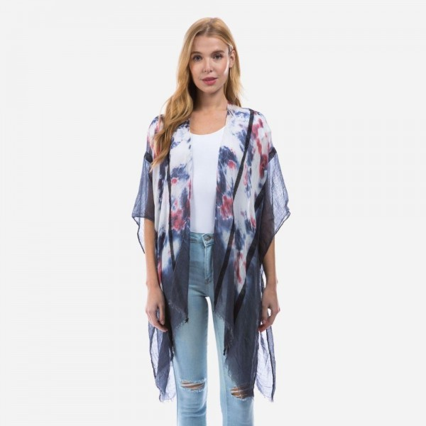 """Lightweight Tie-Dye Kimono Featuring Striped Details.   - One Size Fits Most 0-14 - 100% Viscose - Approximately 32"""" Long"""