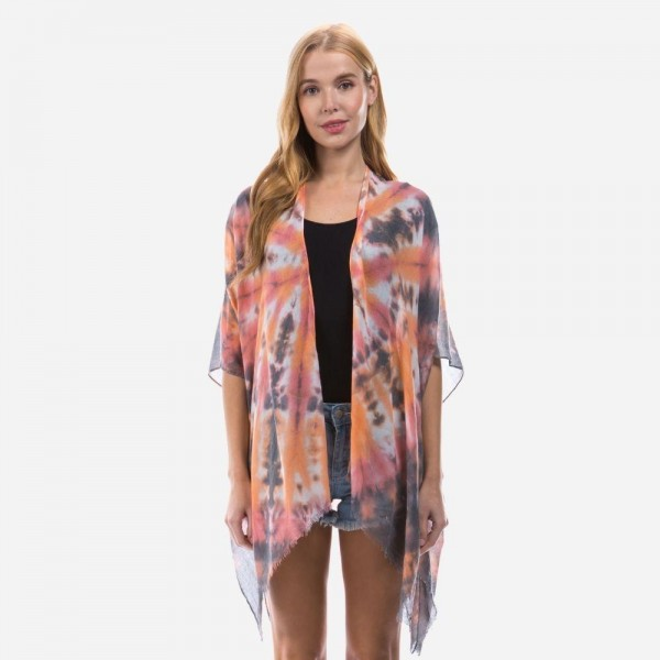 "Lightweight Tie-Dye Burst Kimono.   - One Size Fits Most 0-14 - 100% Polyester - Approximately 32"" Long"