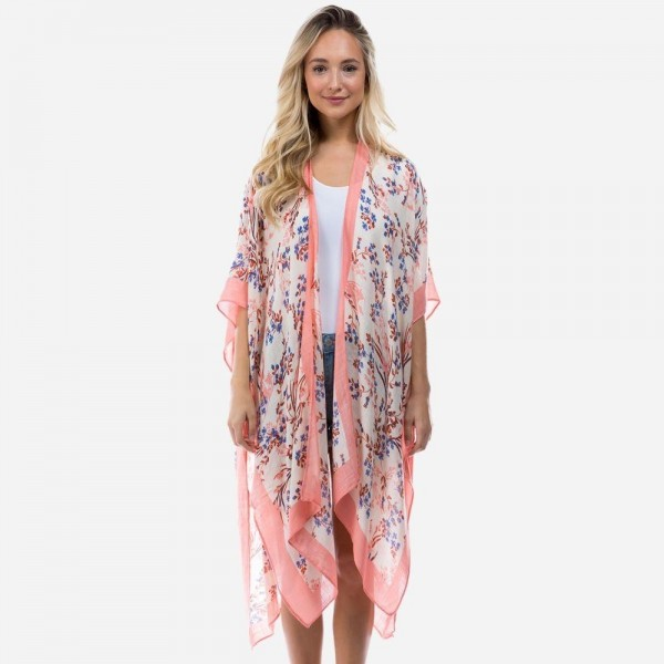 """Lightweight Floral Print Kimono.   - One Size Fits Most  - 100% Viscose - Approximately 35"""" L"""