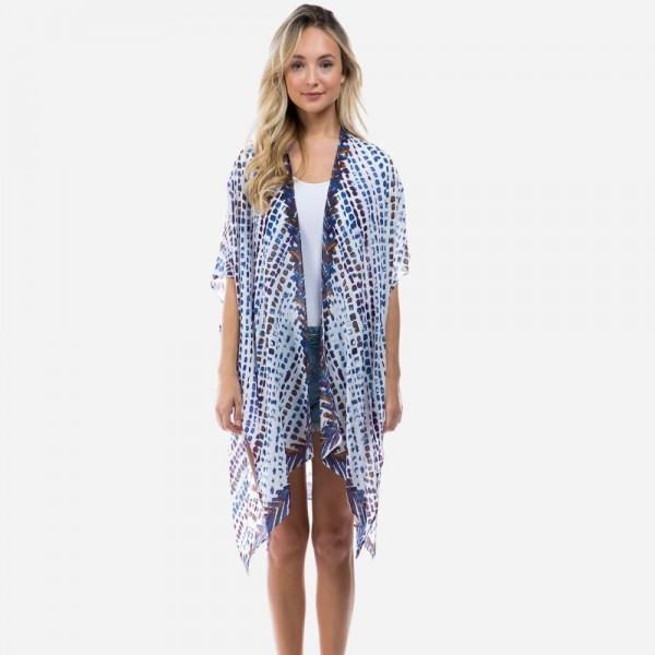 "Lightweight Paint Drop Pattern Kimono.   - One Size Fits Most 0-14 - Approximately 35"" L - 100% Viscose"